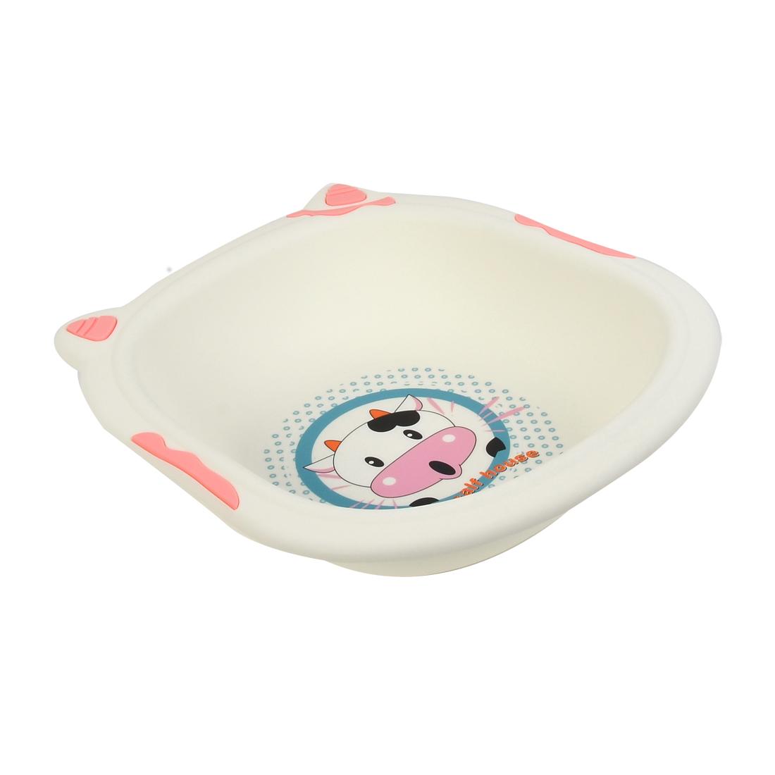 Plastic Cartoon Cow Pattern Washing Basin Dish Pan 36cm x 34cm x 8cm Pink