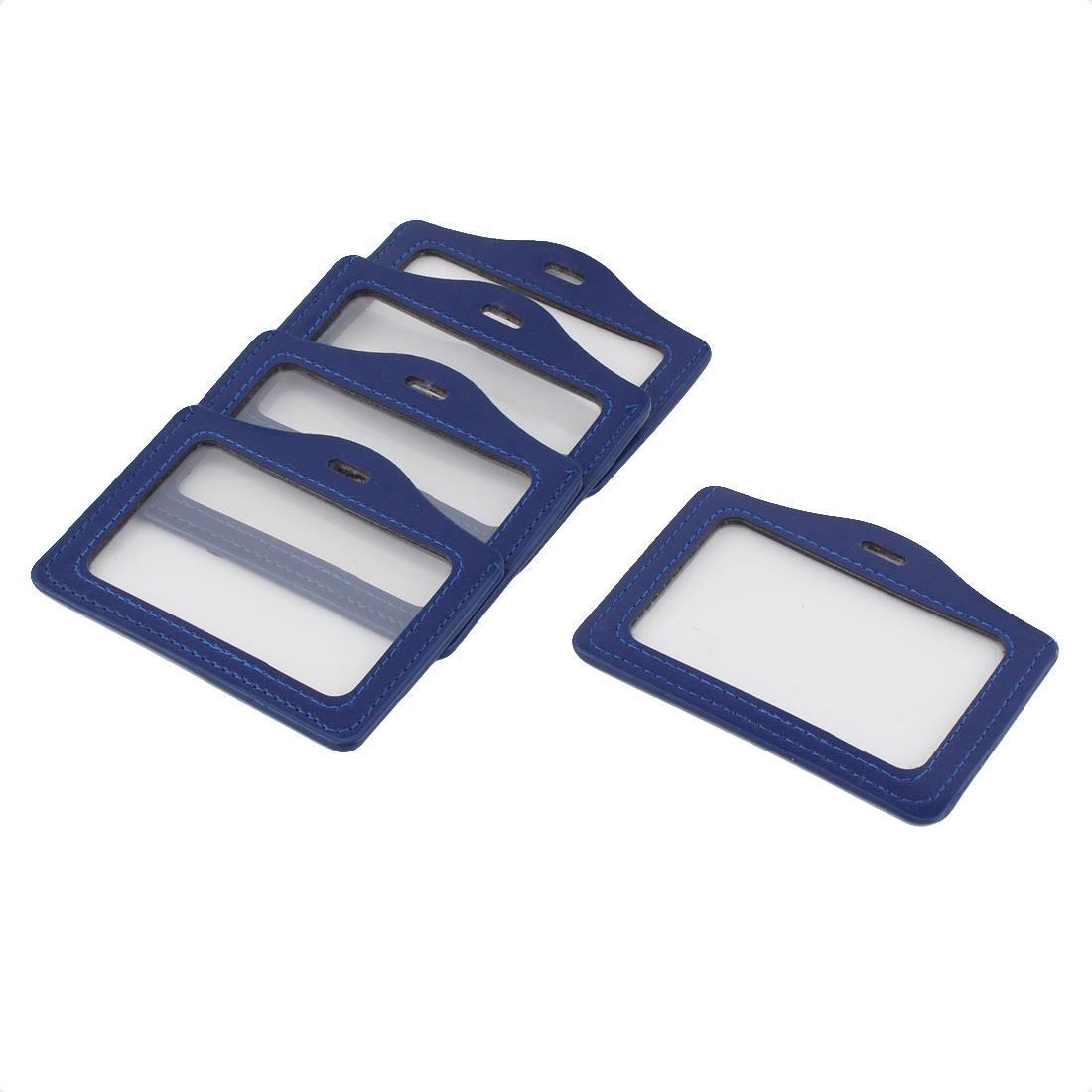 School Office Faux Leather ID Badge Card Holder Container Blue Clear 5pcs
