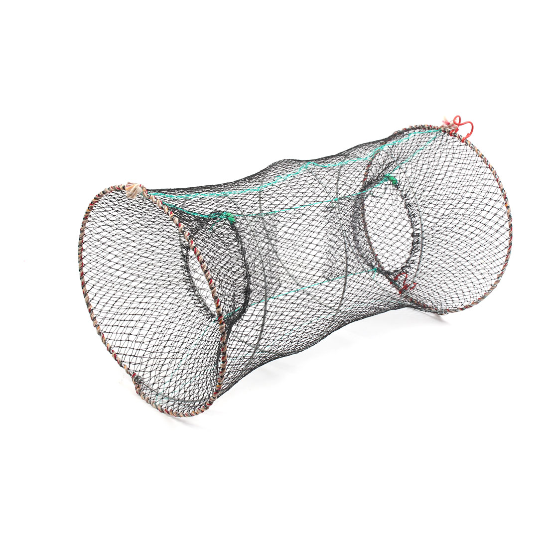 Fishing Nylon Cylindrical Foldable Crab Crawfish Cage Net Mesh Black 59cm Height