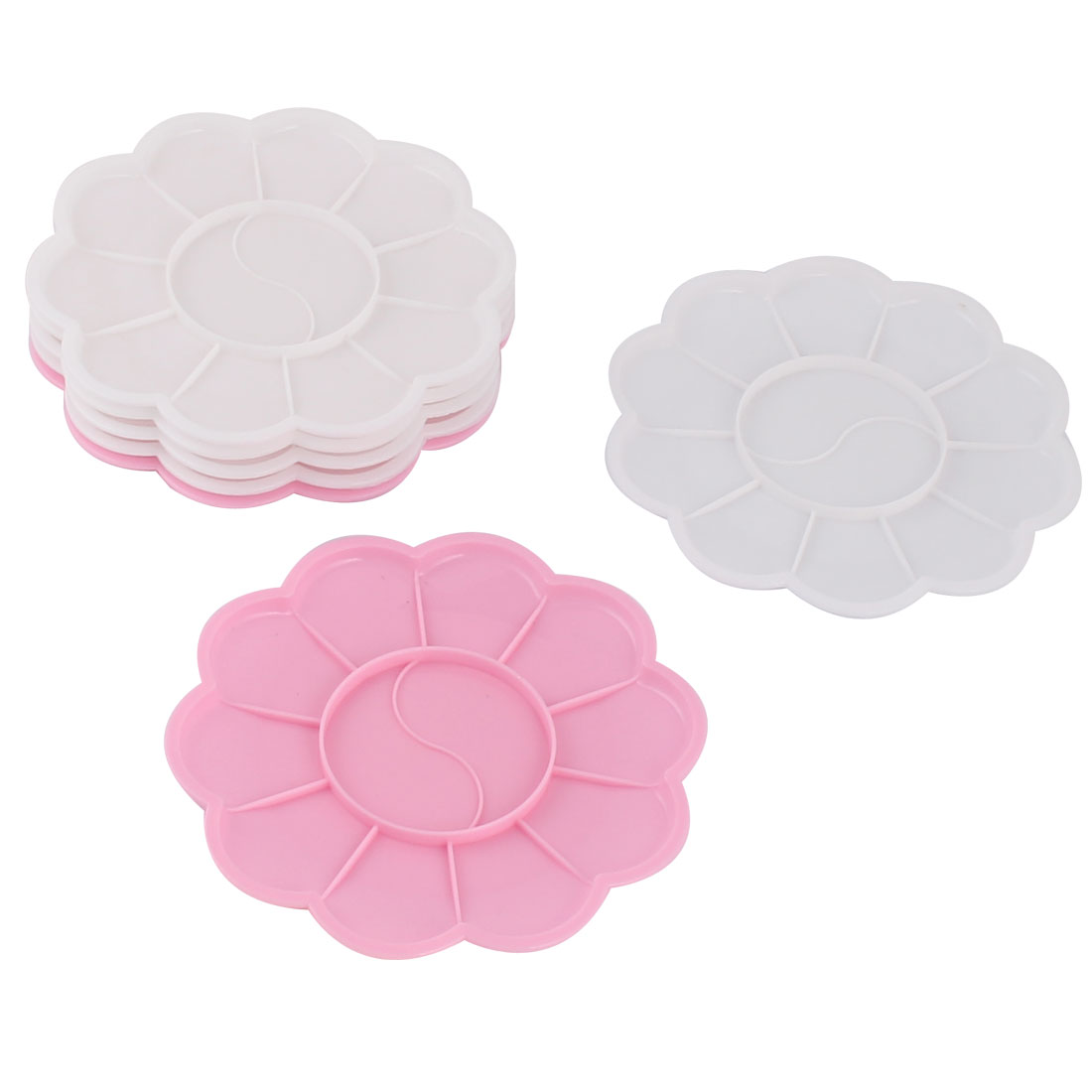 School Student Petal Shaped Watercolor Paint Tray White Pink 12 Compartments 7pcs