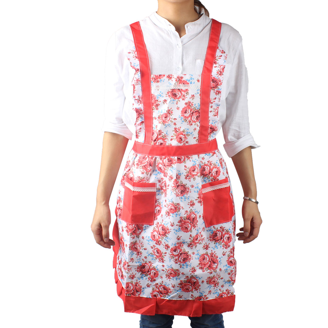 Kitchen Cooking Fabric Blooming Rose Print 2 Front Pocket Self Tie Bib Aprons Red
