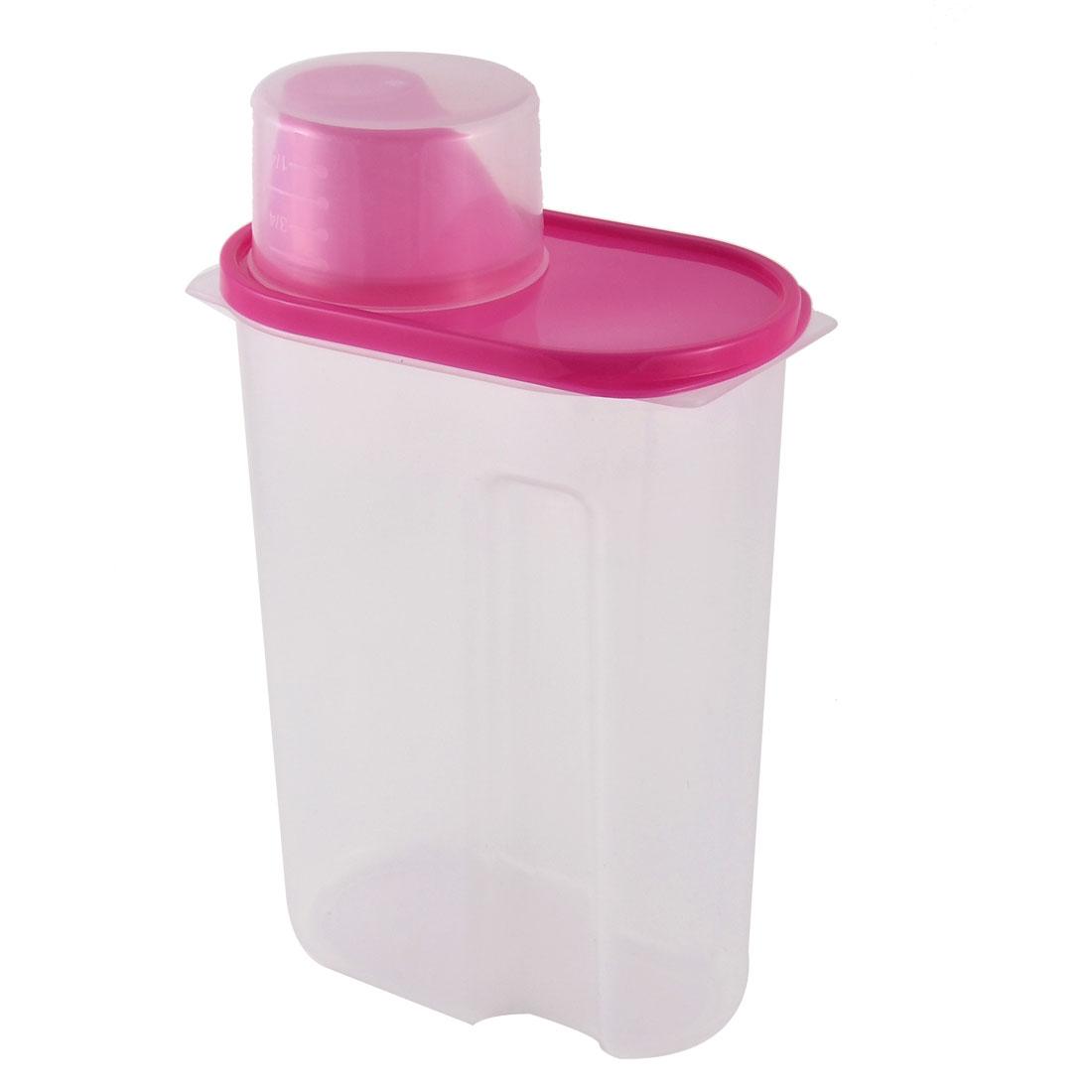 Family Kitchenware Plastic Airtight Soybean Rice Food Storage Seal Box Fuchsia