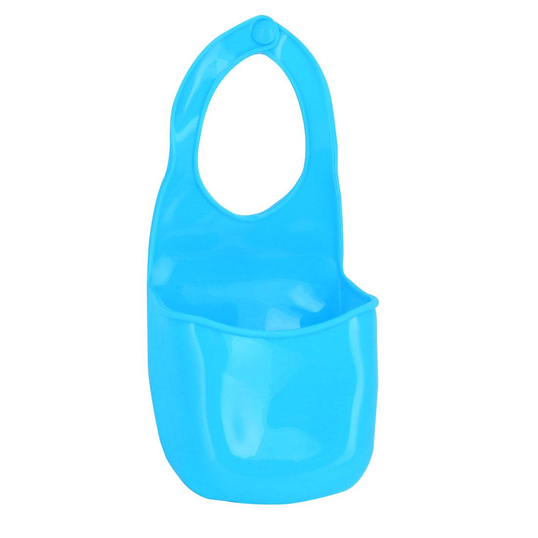 Bathroom Wall Door Silicone 3 Holes Design Hanging Storage Bag Case Organizer Blue