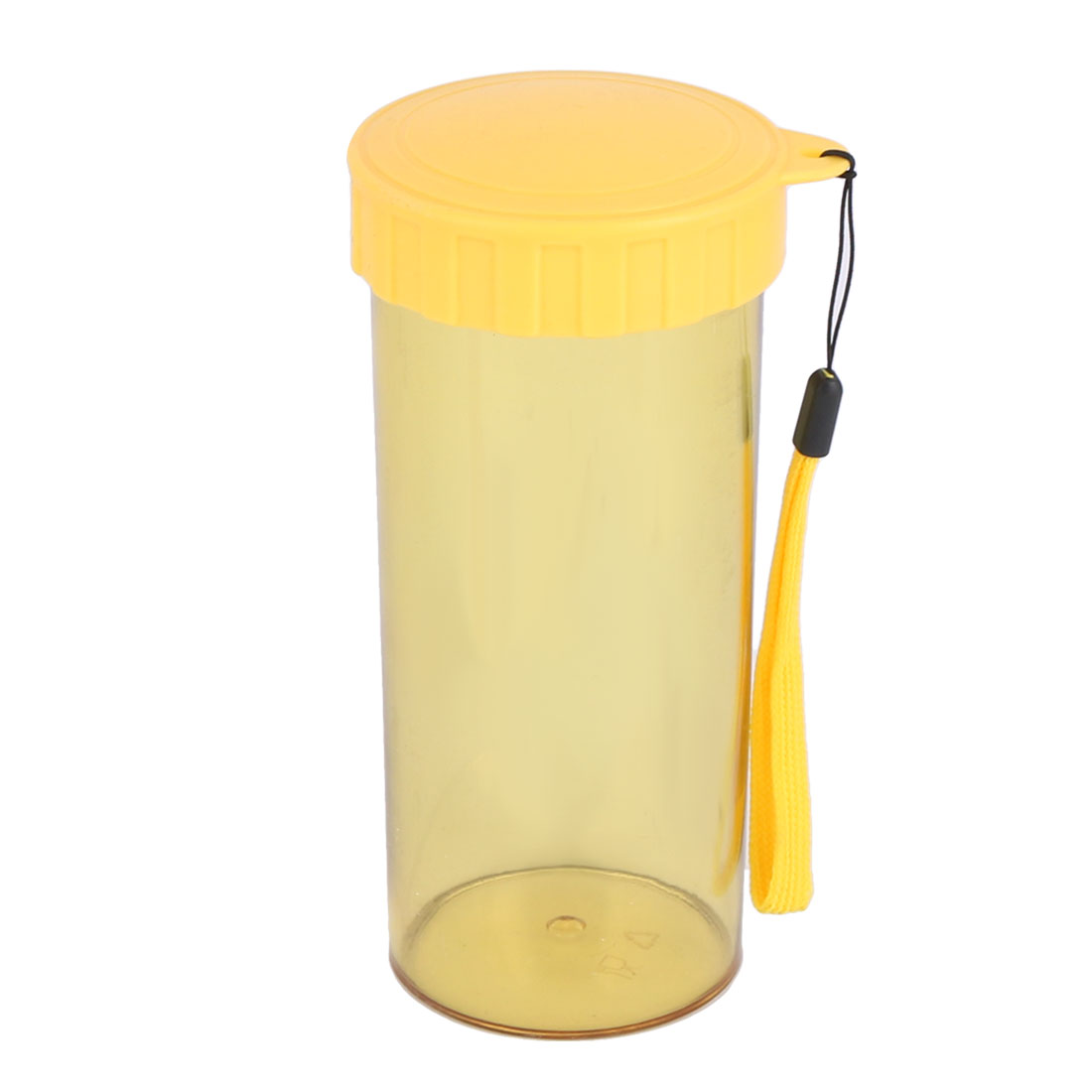 Casual Sport Plastic Fruit Juice Water Cup Bottle Yellow 14.5cm High