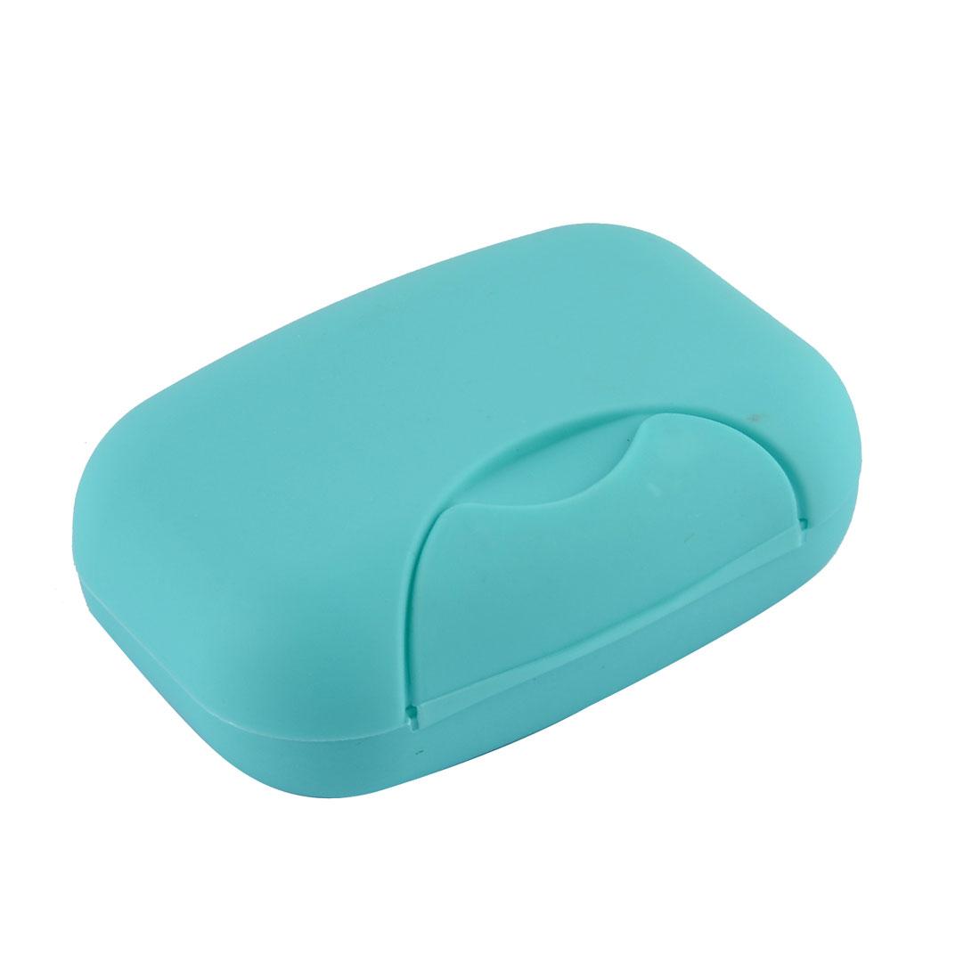 Family Bathroom Plastic Rectangle Shape Soap Holder Box Case Container Blue