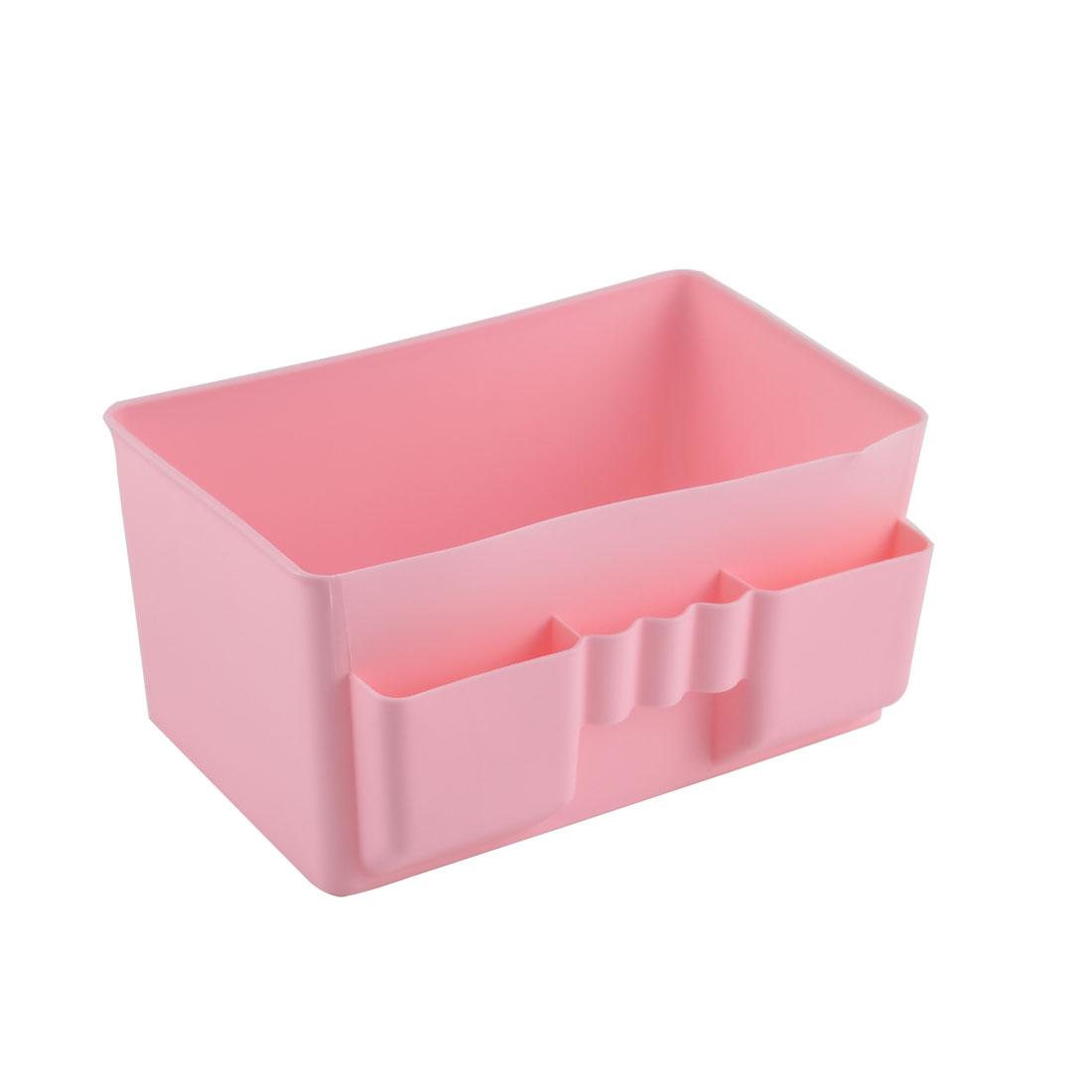 Home Washroom Desktop Plastic Cosmetic Toothpaste Storage Box Organizer Pink