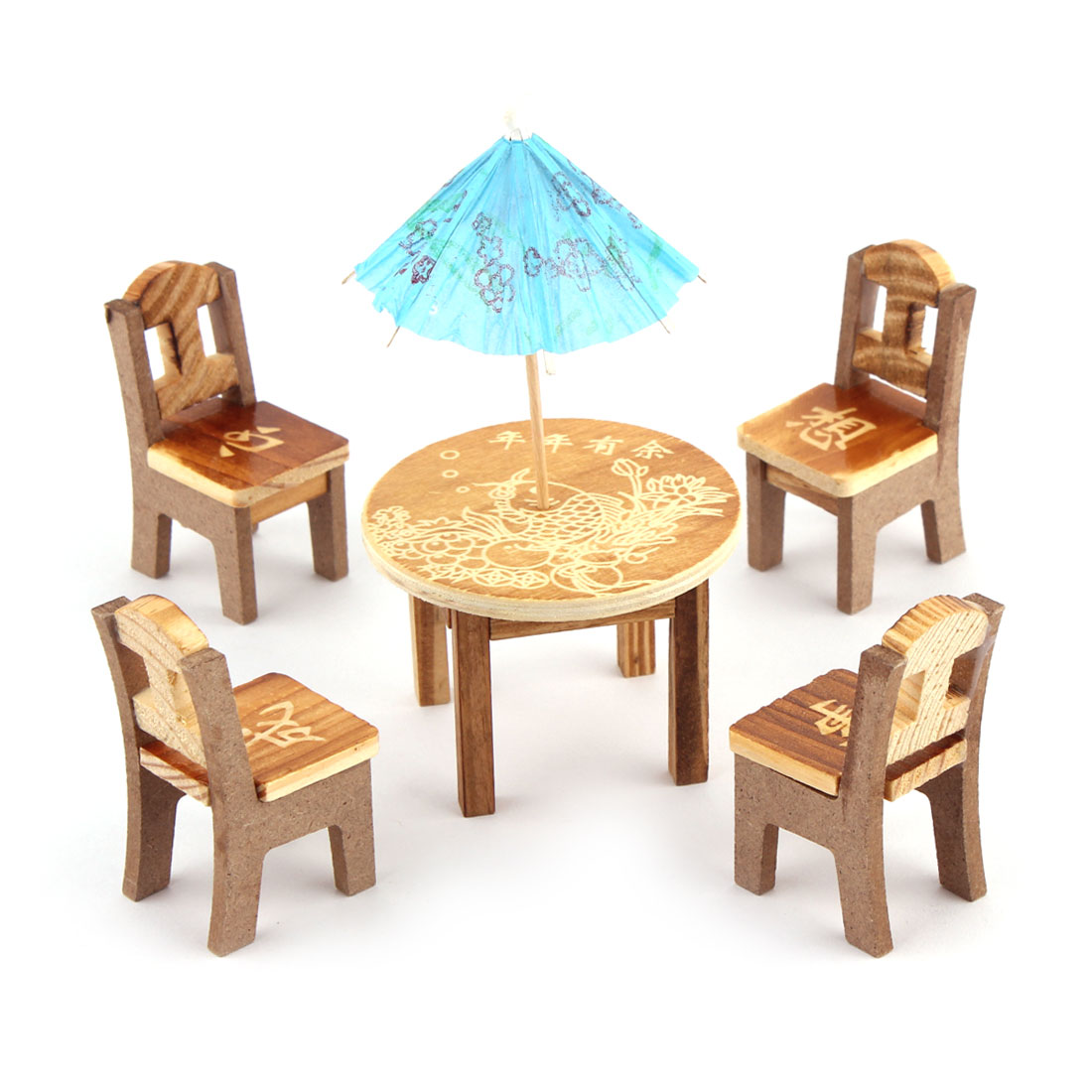 Home Office Wooden Artificial Simulation Table Desk Umbrella Display Craft Wood Color Blue Set 6 in 1