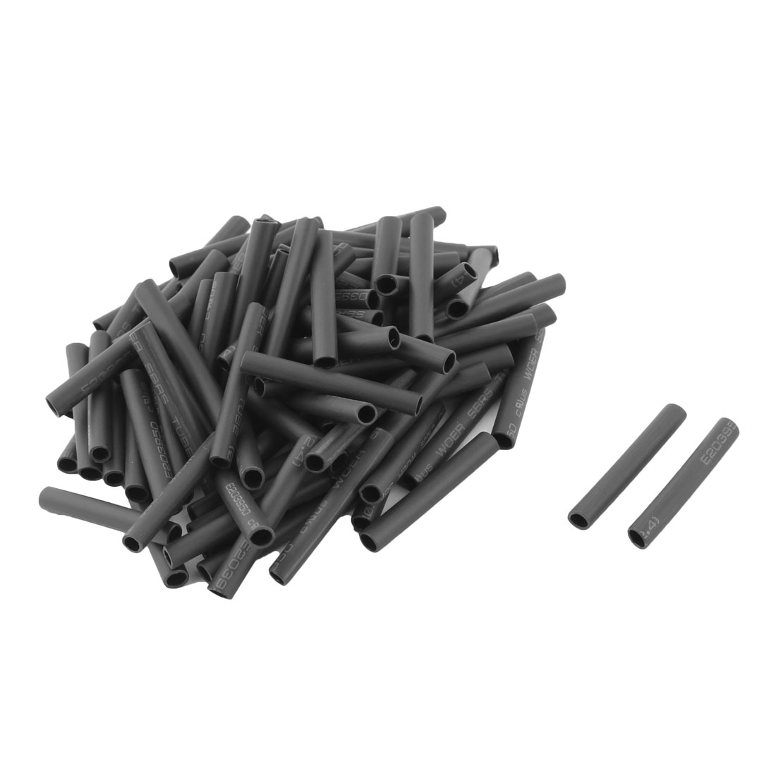 100 Pcs 2.4mm Inner Dia Black Polyolefin Heat Shrink Tube Heatshrink Tubing Wrap