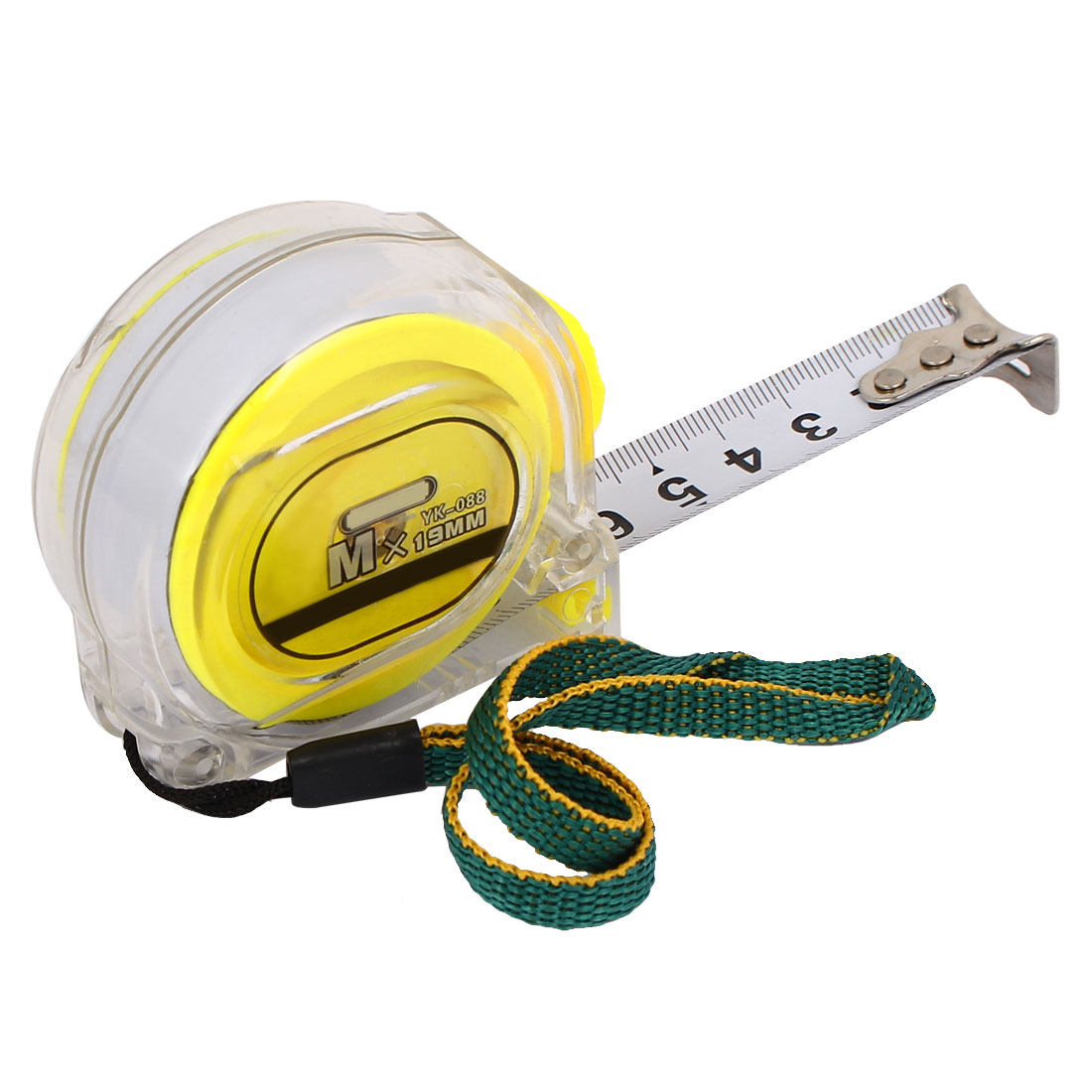3 Meter Plastic Case Hand Strap Button Lock Measuring Tape Yellow