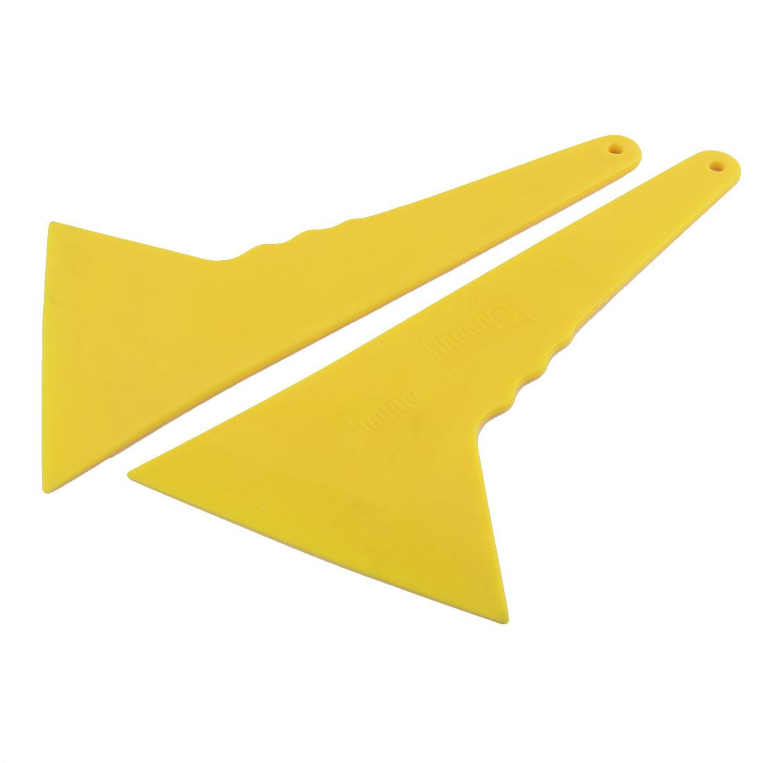 Household Plastic Handle Smooth Corners Cars Glass Wall Scraper Tool Yellow 2PCS