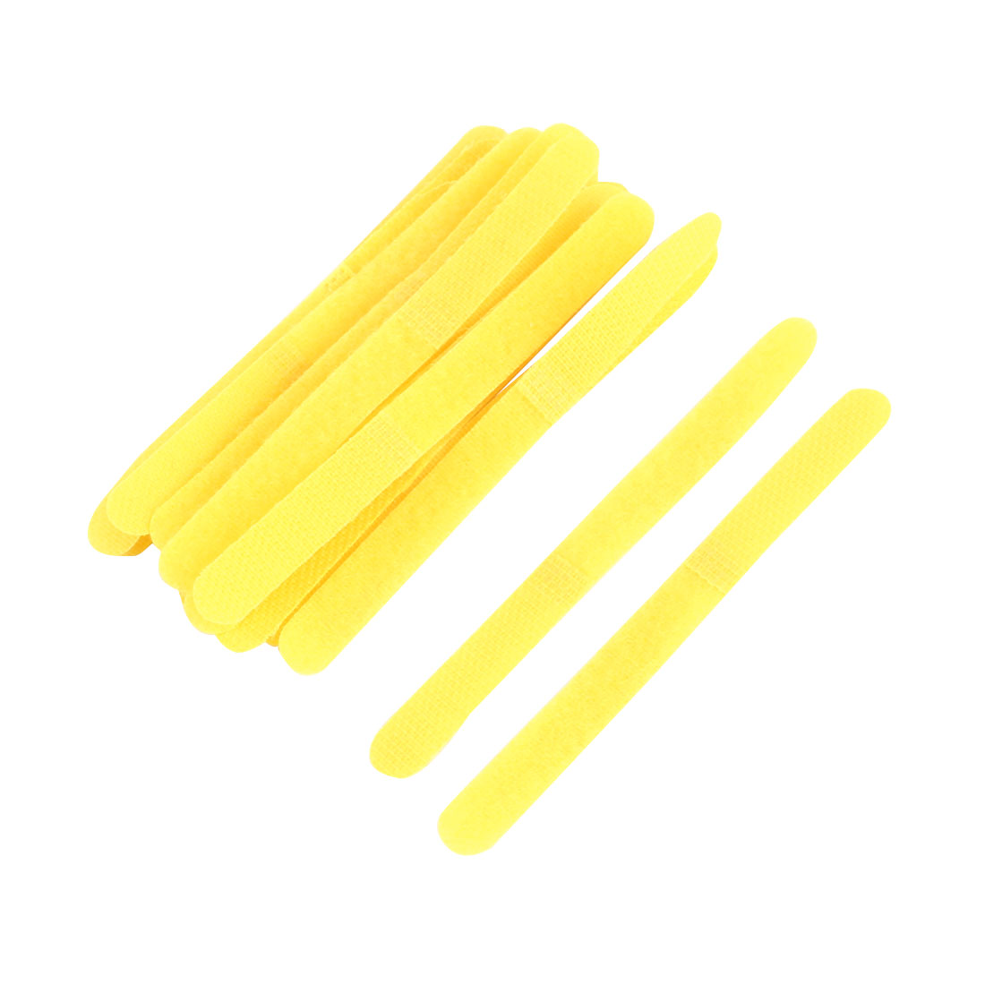 Self Adhesive Roll Strip Fastener Hook and Loop Tape 11cm Long Yellow 16pcs