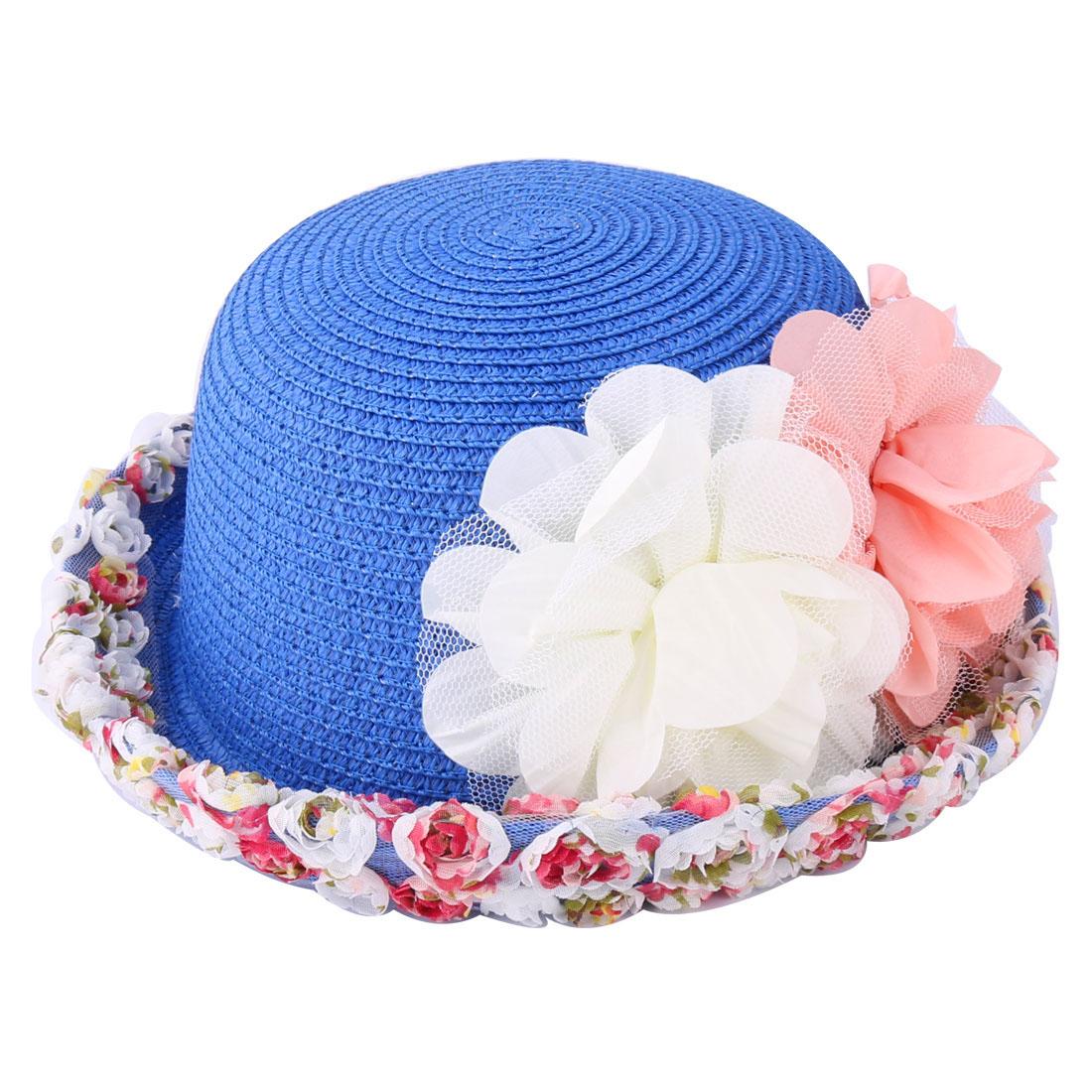 Girl Lady Cloth Flower Decor Brim Soft Straw Braid Travel Vacation Hat Blue