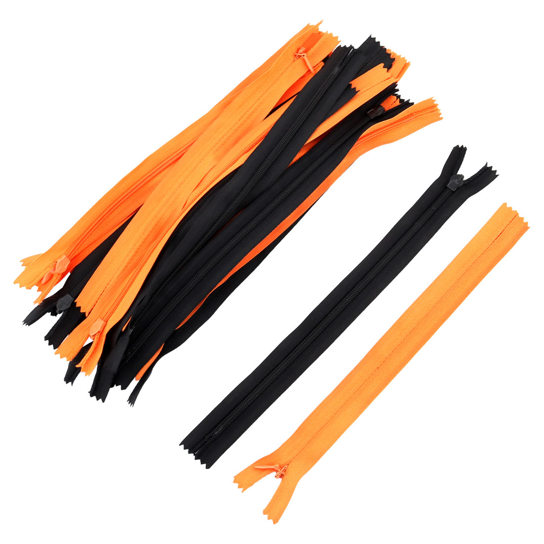 Tailor Sewing Nylon Invisible Smooth Zippers Mix Size Black Orange 22pcs