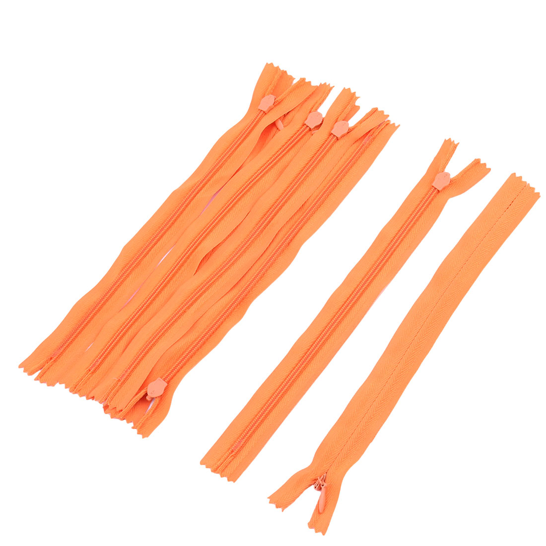 Home Tailor Sewer Nylon Coil Craft Invisible Zippers 20cm Long Orange 7pcs