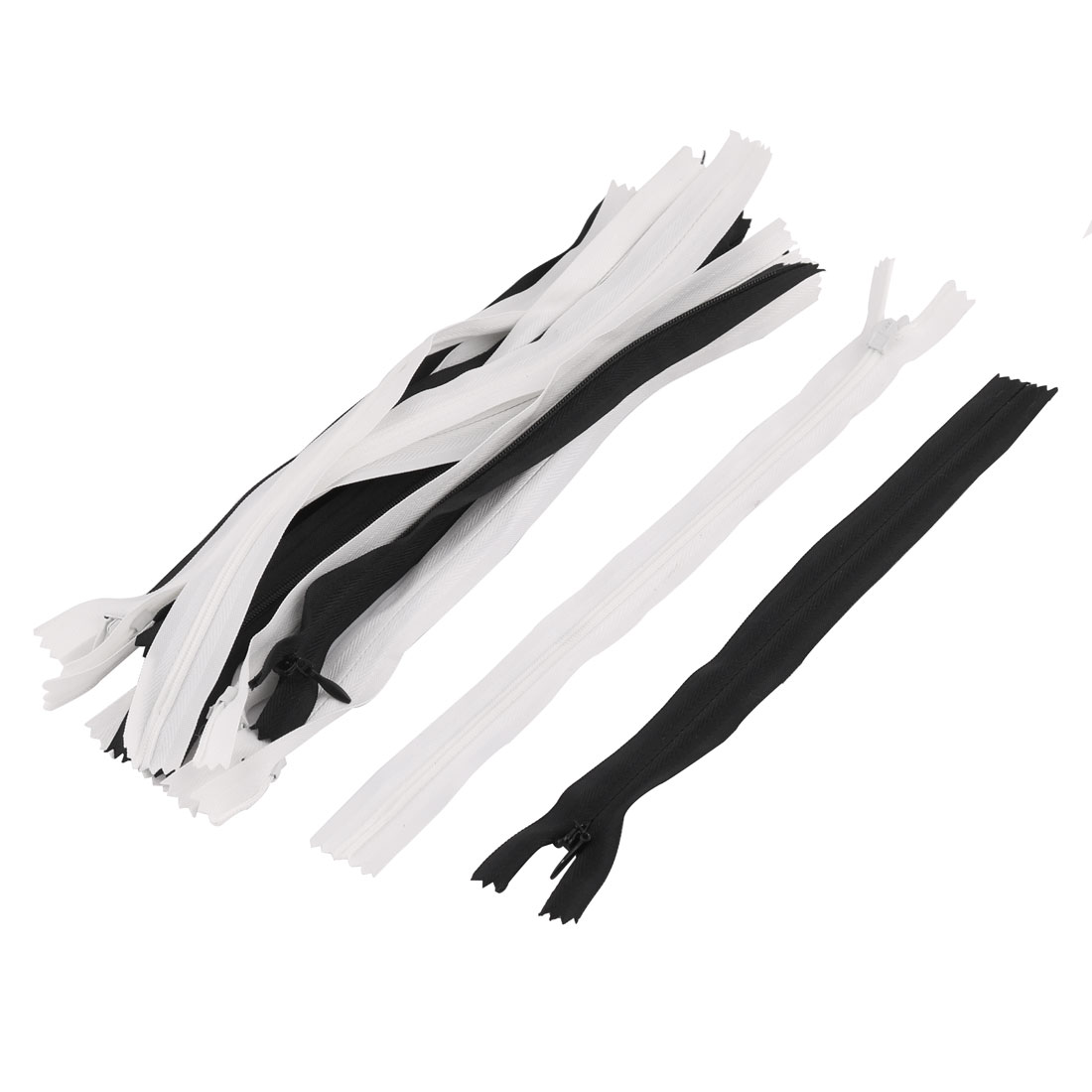 Tailor Sewing Nylon Invisible Smooth Zippers Mix Size Black White 16pcs