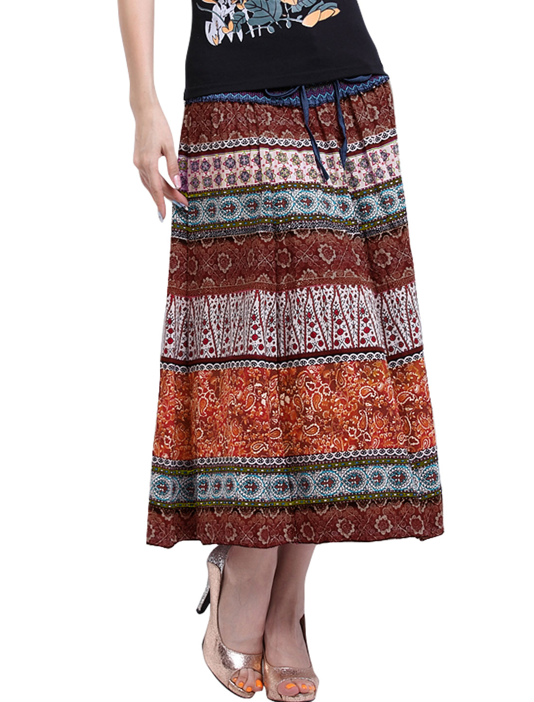 Women Smocked Waist Self Tie Decor Novelty Prints Boho Skirt Brown S