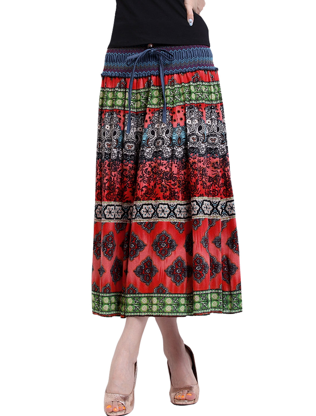 Women Smocked Waist Self Tie Decor Novelty Prints Boho Skirt Red S