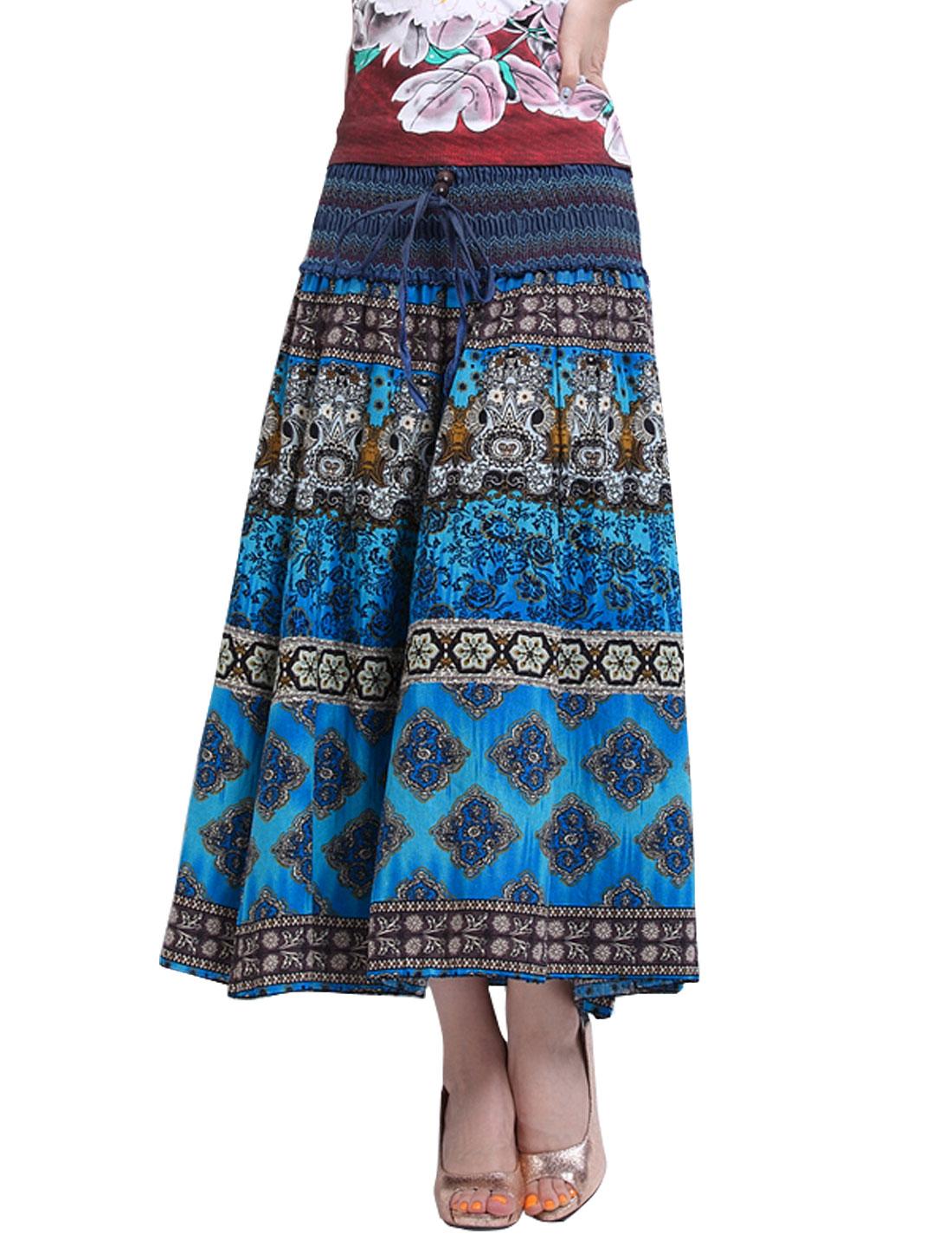 Women Smocked Waist Self Tie Decor Novelty Prints Boho Skirt Blue S
