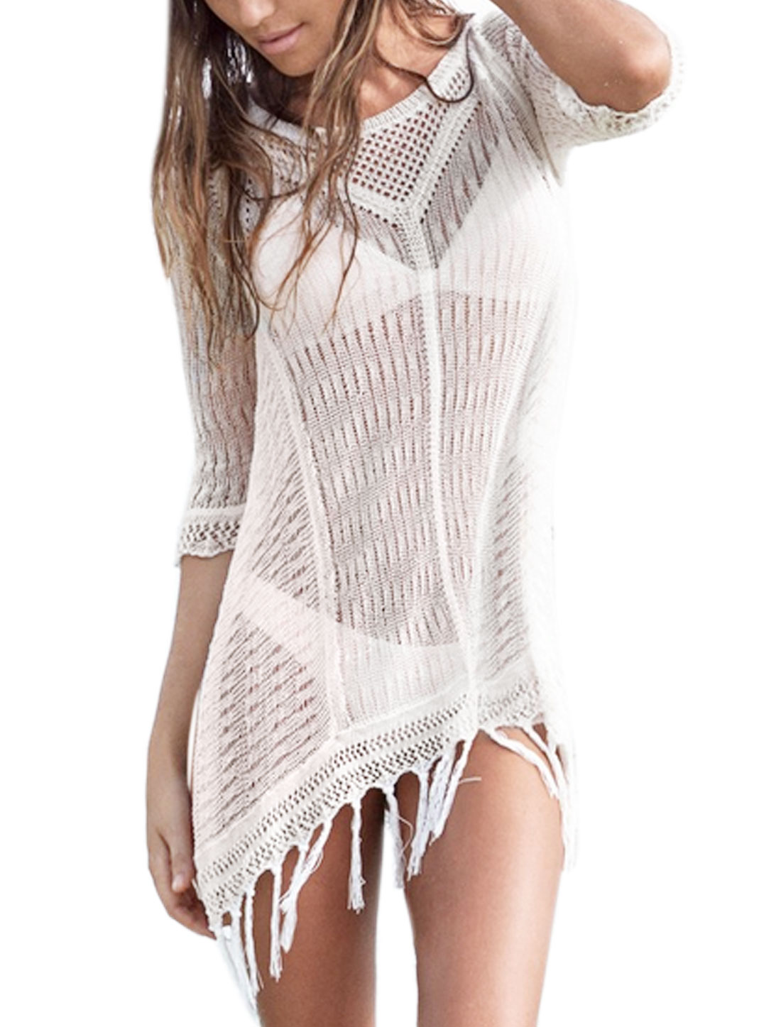 Women Hollow Out Fringed Hem Cover-Up Tunic Knit Top White M