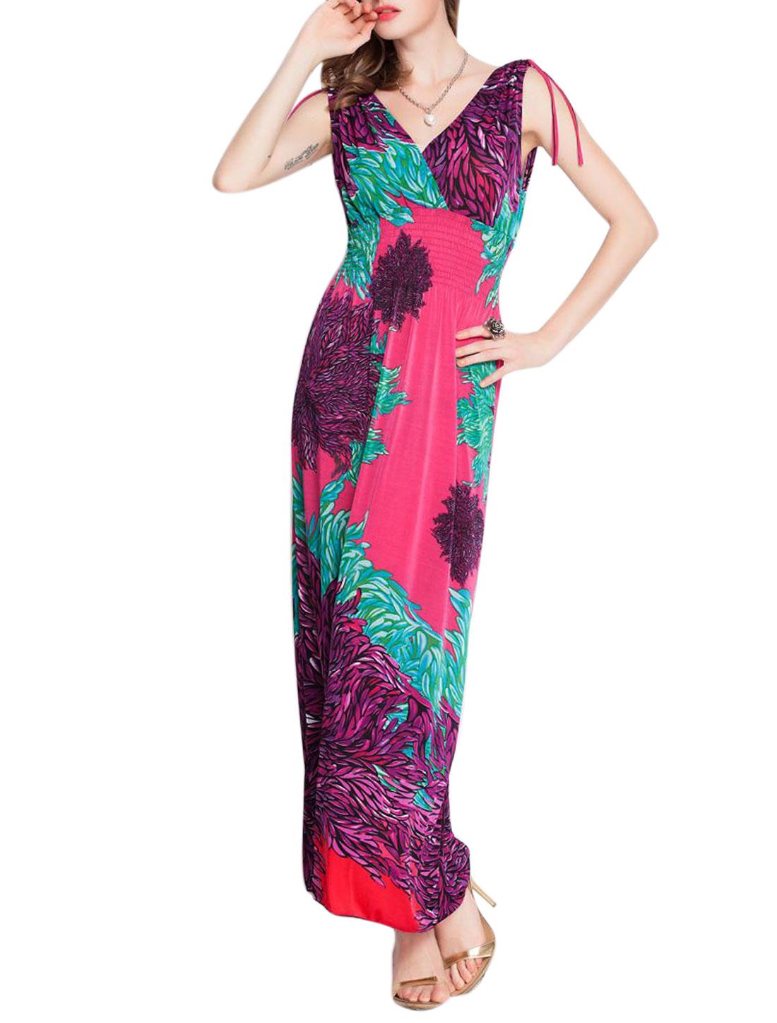 Women Deep V Neck Sleeveless Plants Print Long Dress Fuchsia S