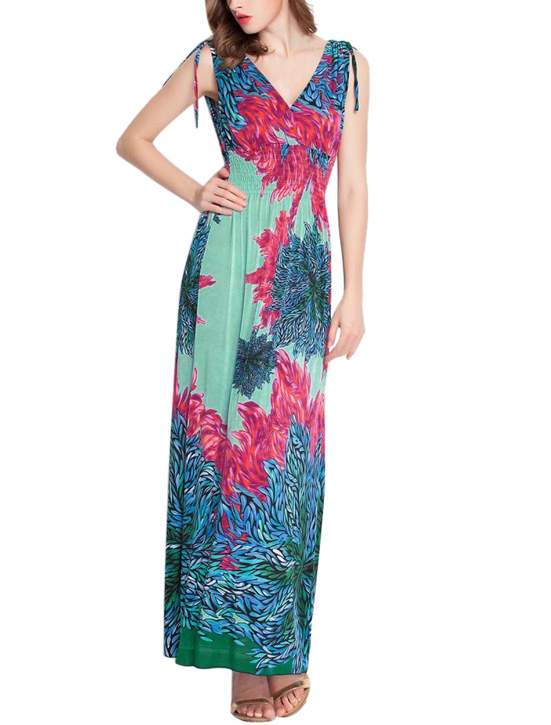 Women Deep V Neck Sleeveless Plants Print Long Dress Mint S