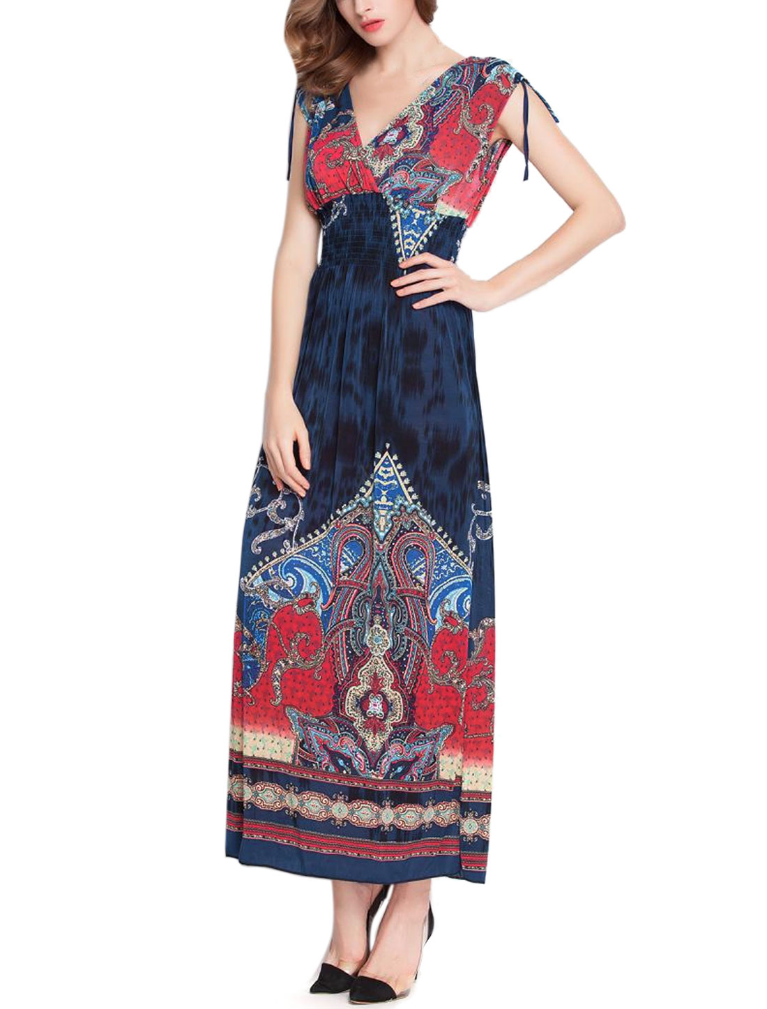 Women Sleeveless Shirred Waist Novelty Print Maxi Dress Navy Blue S