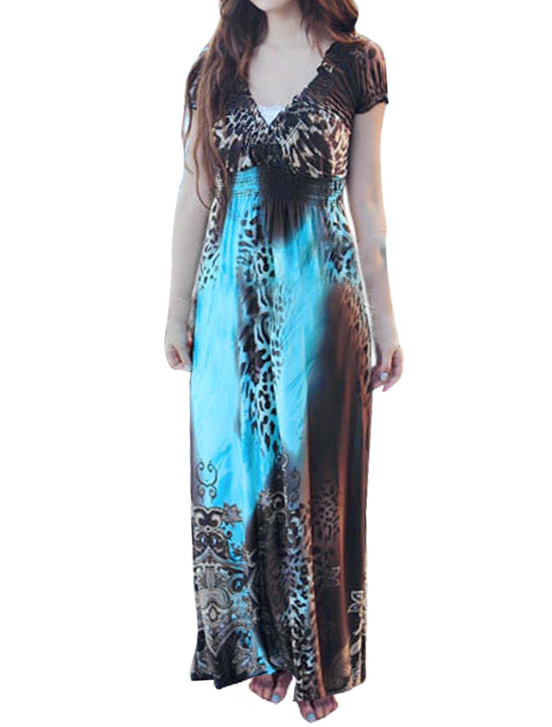 Women V Neck Empire Waist Leopard Novelty Maxi Dress Blue S