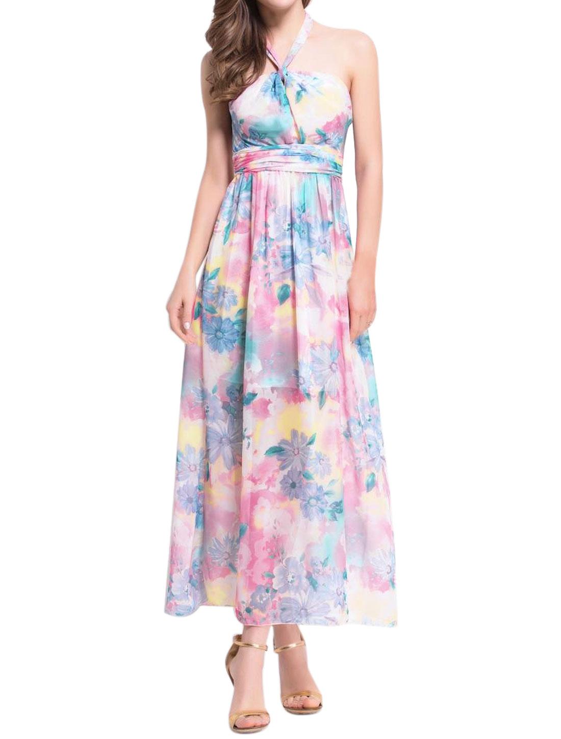 Women Halter Neck Waist String Floral Prints Maxi Dress Pink XS