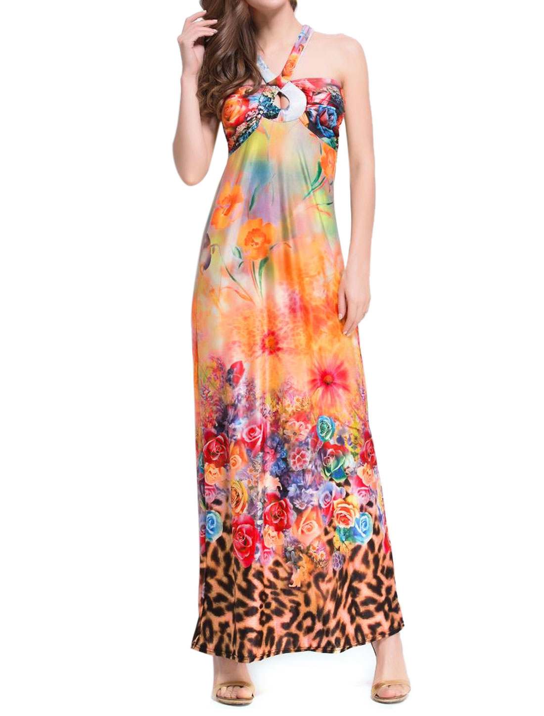 Women Halter Neck Flower Leopard Print Long Dress Orange XS