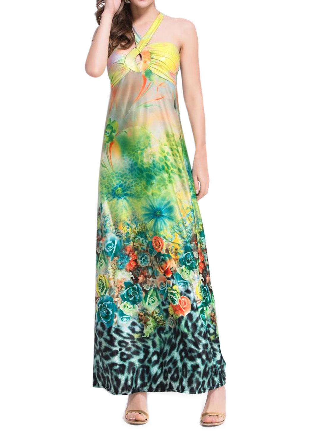 Women Halter Neck Flower Leopard Print Long Dress Green XS