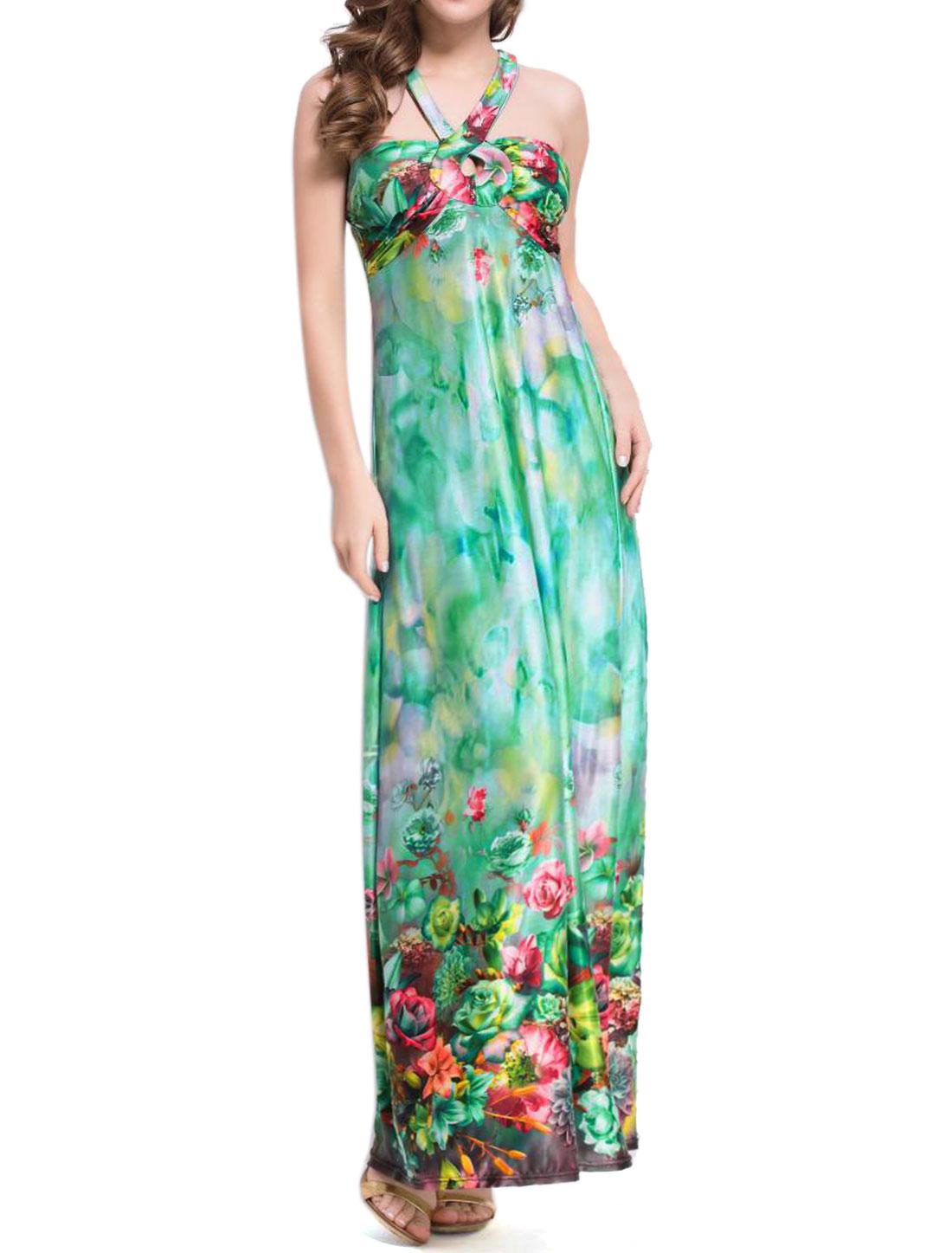 Women Halter Neck Padded Bust Floral Maxi Dress Green XS
