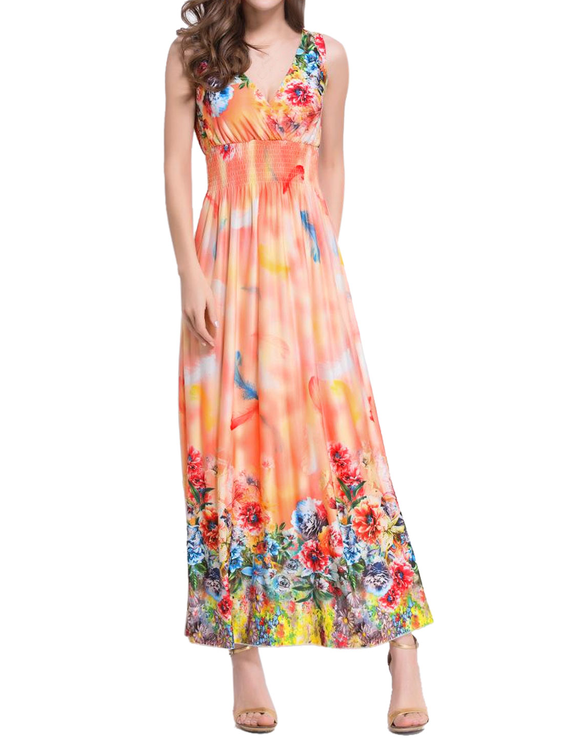 Women Crossover V Neckline Smocked Waist Feathers Floral Maxi Dress Pink S