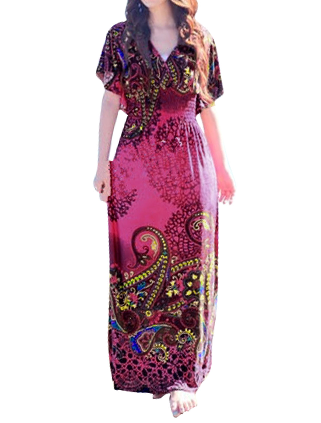 Women Butterfly Sleeves Smocked Waist Novelty Maxi Dress Pink S