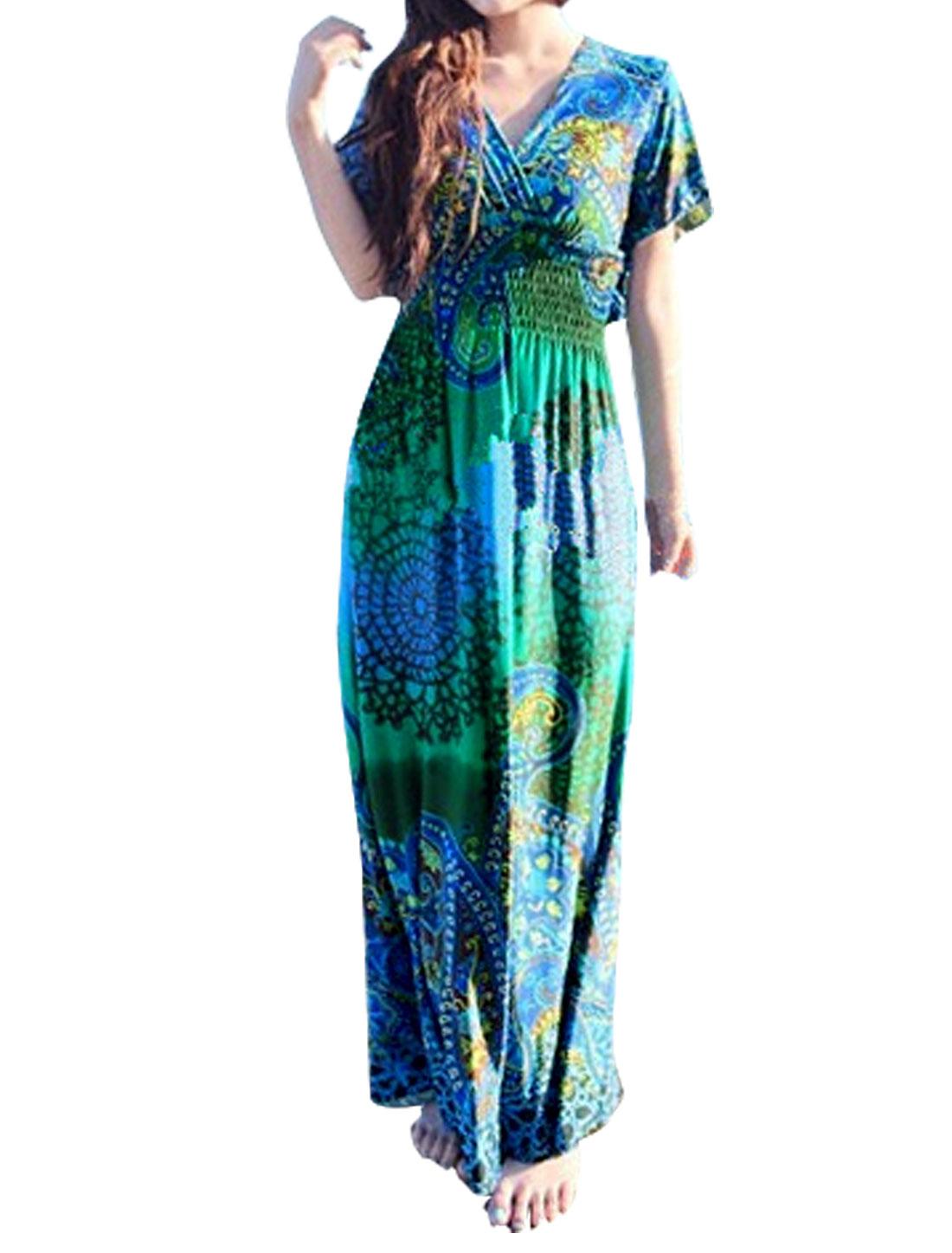 Women Butterfly Sleeves Smocked Waist Novelty Maxi Dress Blue S