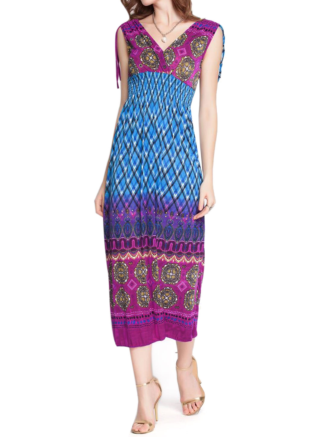 Women Argyle Print Deep V Neck Full Length Dress Purple S