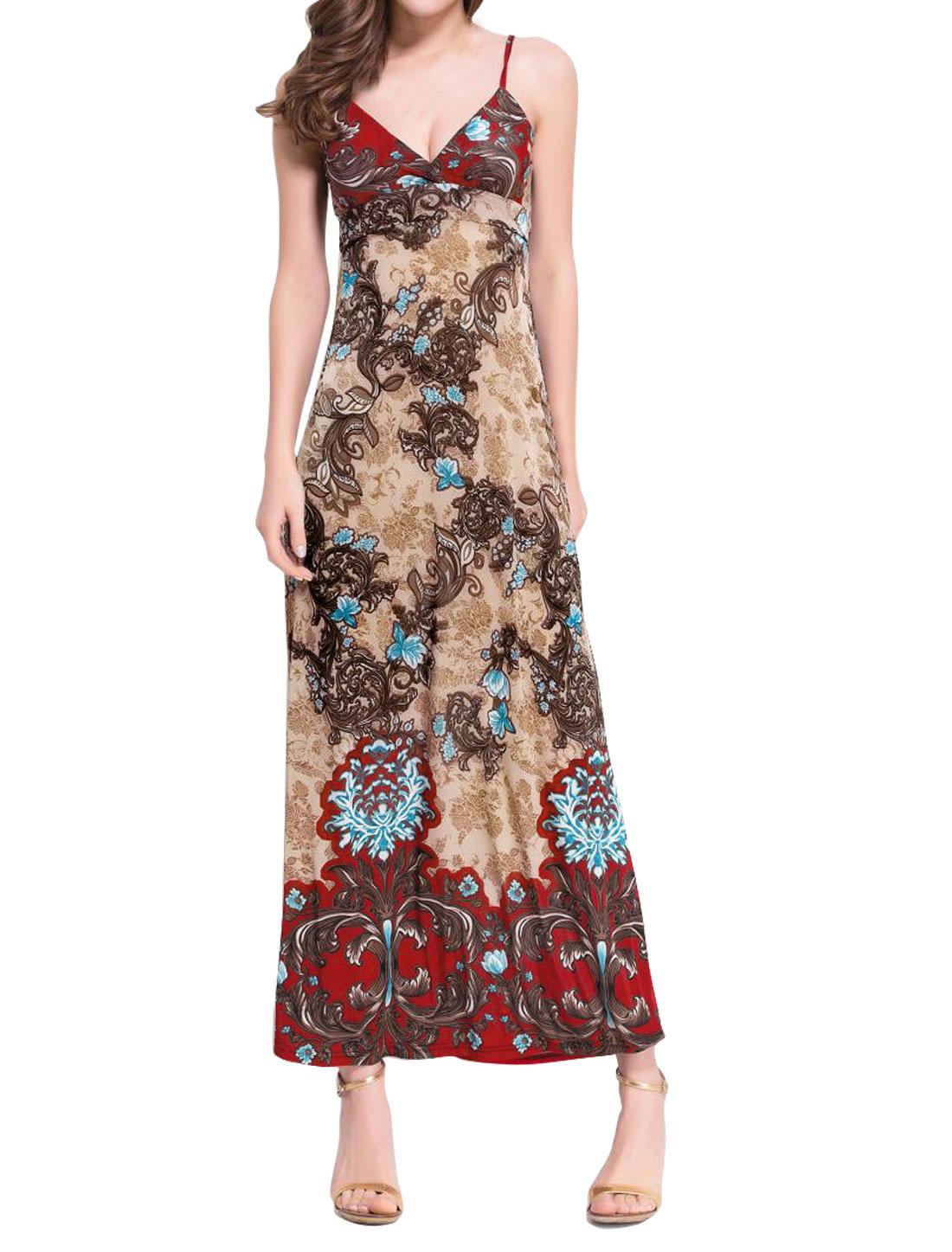 Women Crossover V Neck Spaghetti Straps Flower Maxi Dress Beige S