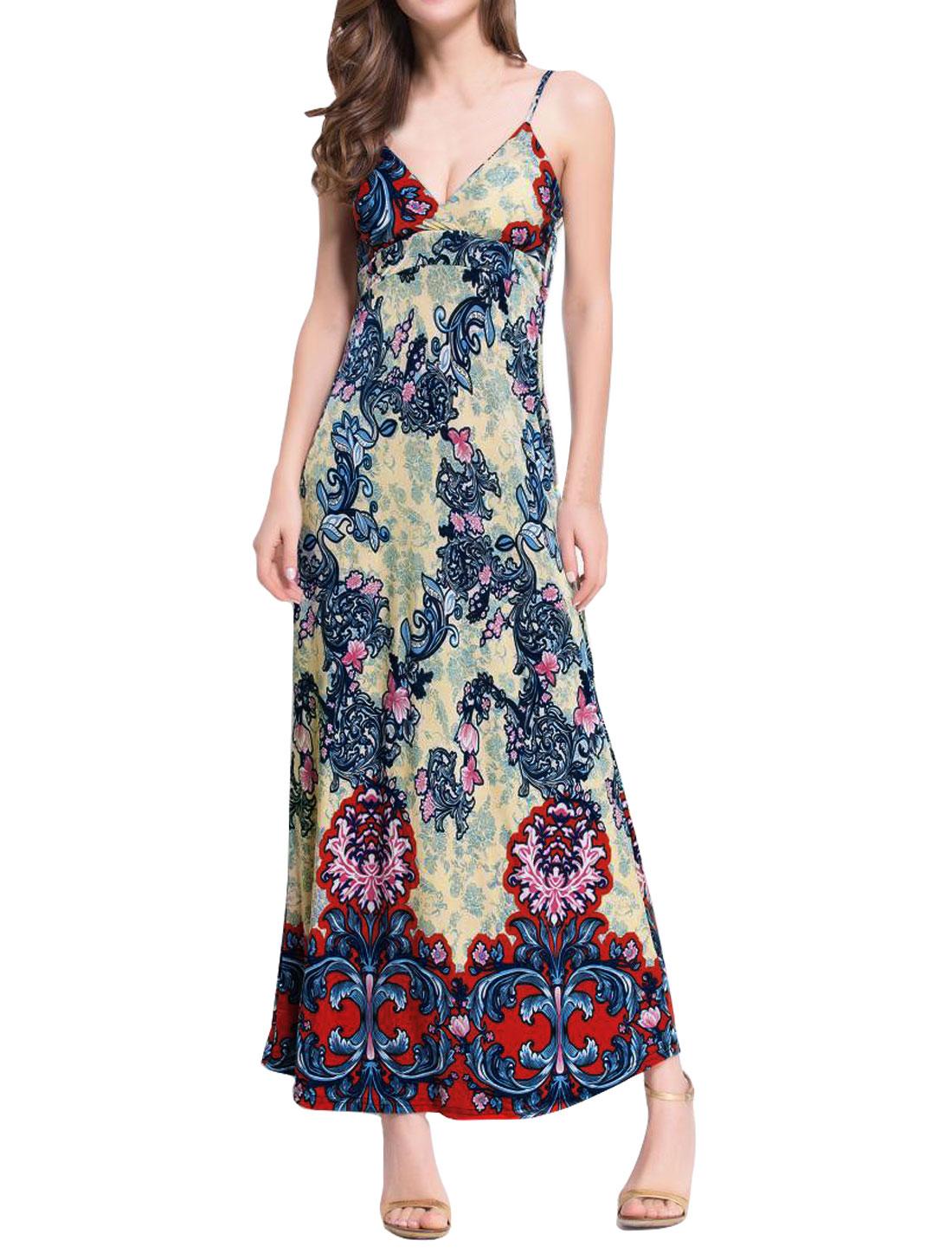 Women Crossover V Neck Spaghetti Straps Flower Maxi Dress Blue S