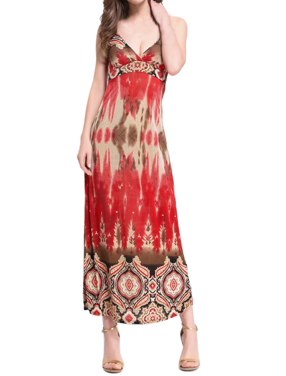 Women Crossover V Neck Spaghetti Straps Novelty Maxi Dress Brown S