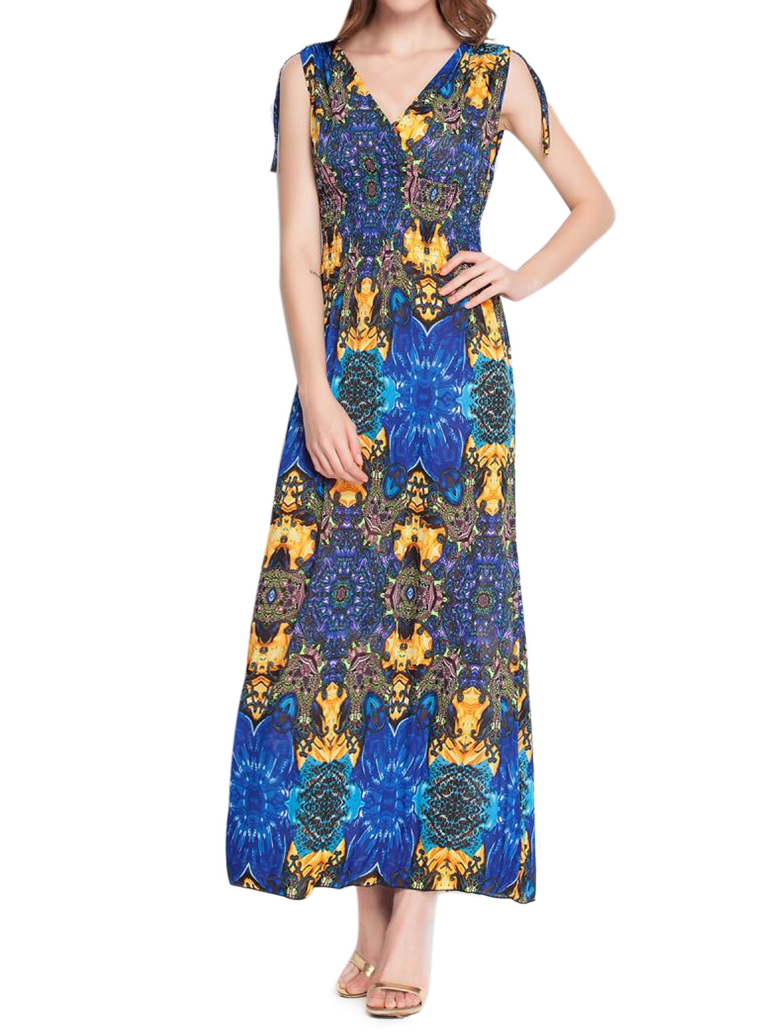 Ladies Drawstring Shoulder Novelty Pattern Maxi Dress Yellow S