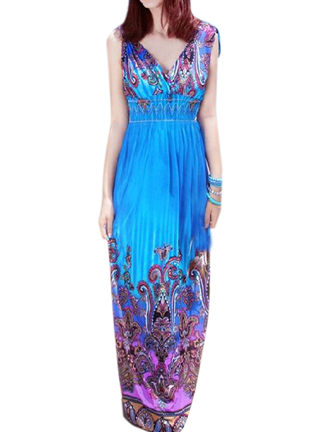 Women Deep V Neck Drawstring Shoulder Floral Maxi Dress Blue XS