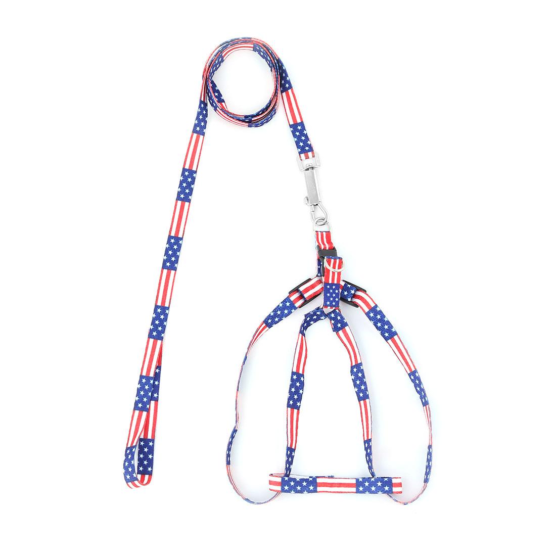 104cm USA Flag Pattern Lead Dog Doggie Puppy Collar Halter Harness Leash Strape