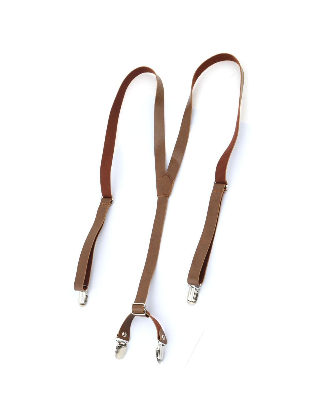 Adult Faux Leather Y-Shaped Back Adjustable Suspenders Braces Straps Brown
