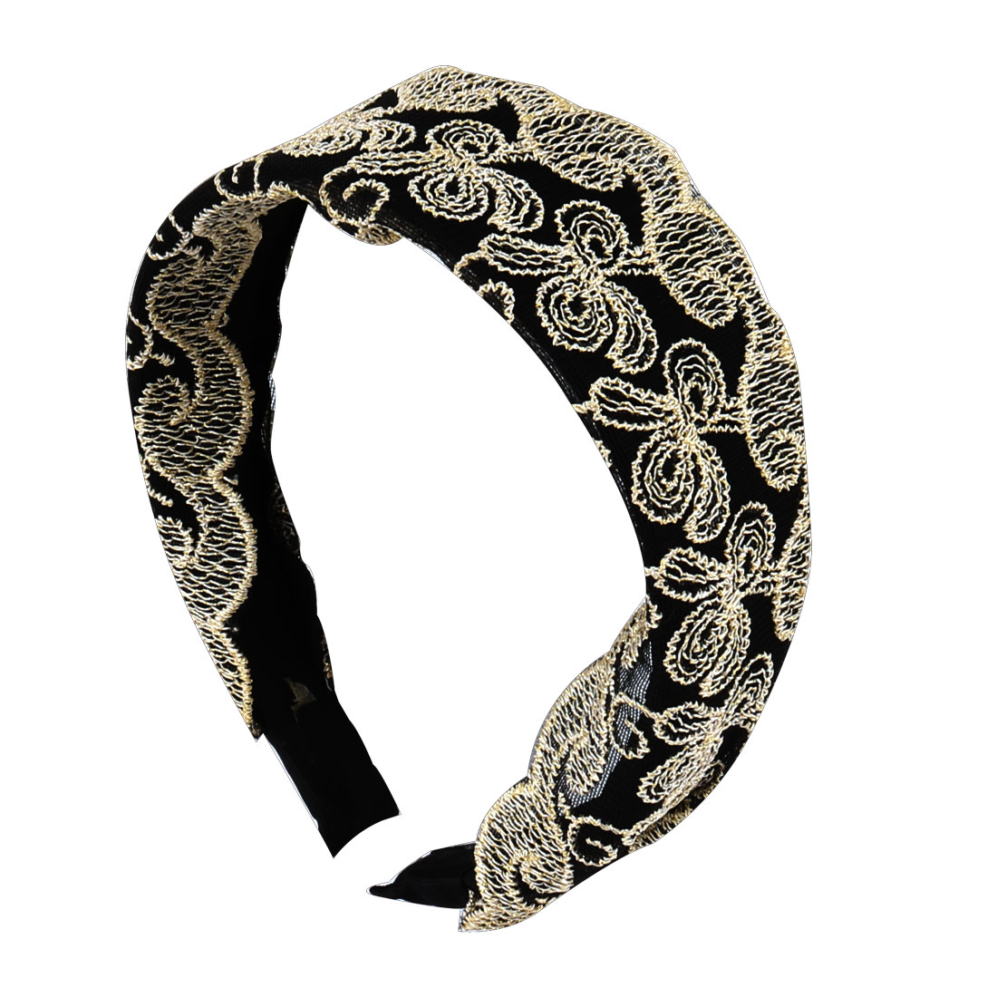 Lady Party Outdoors Lace Fabric Decor Plastic Headband Hair Hoop Black White