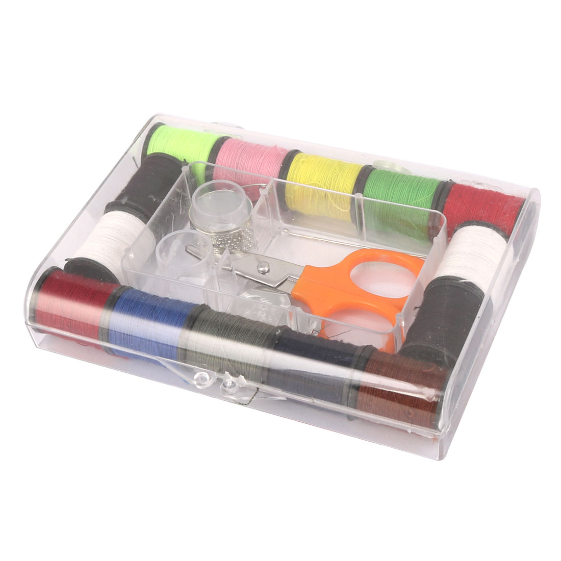 Home Travel Rectangle Box Assorted Color Thread Spool Needle Sewing Kit Set
