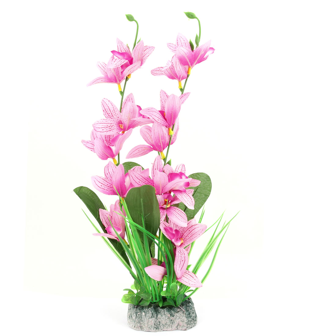 Fish Tank Plastic Fabric Artificial Lily Flower Aquarium Plant Ornament Pink Green