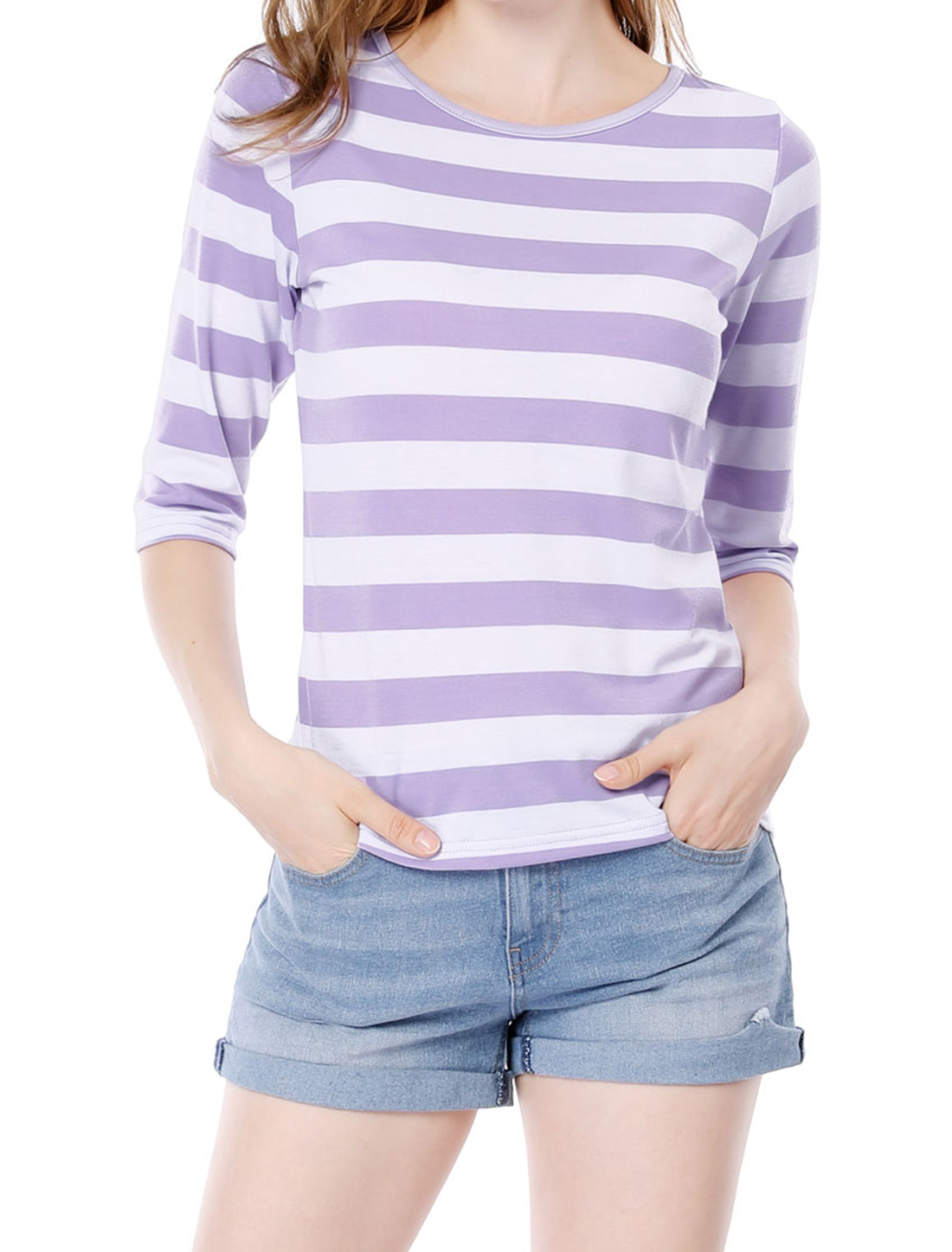 Women 1/2 Sleeves Contrast Color Stripes T-shirt Light Purple White XL