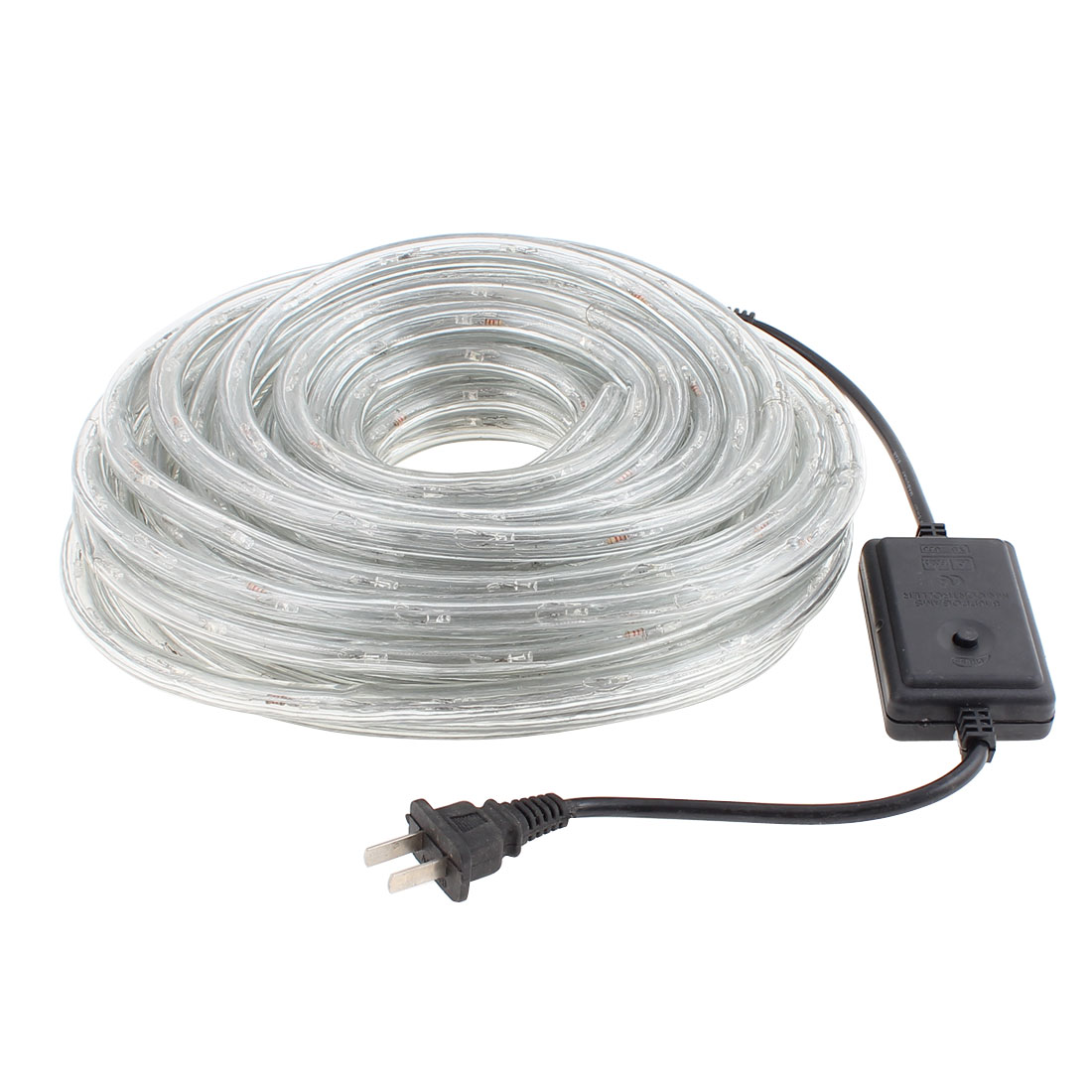 AC 110V US Plug 2 Wire Round Warm White LED Tube Lights Signboard Outdoor 15 Meters