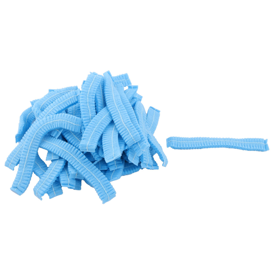 Disposable Elastic Bouffant Pleated Nurse Dental Anti Dust Hats Blue 50 PCS