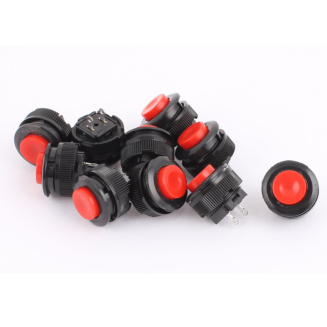 10 Pcs AC 250V 1A 2Terminals SPST OFF(ON) N/O Red Round Momentary Push Button Switch