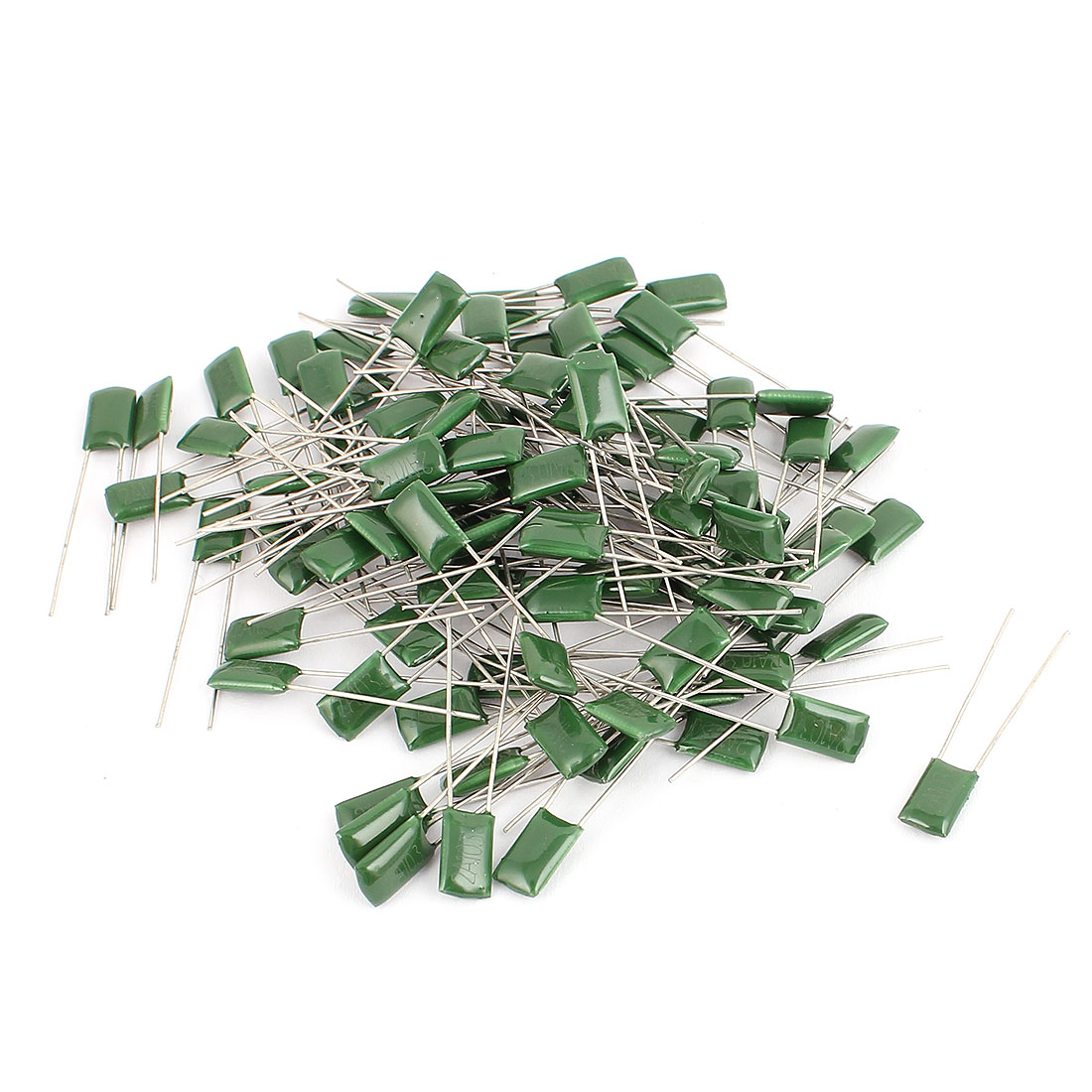 100pcs Radial Leads Polyester Film Cap Capacitors Green 100V 0.01UF
